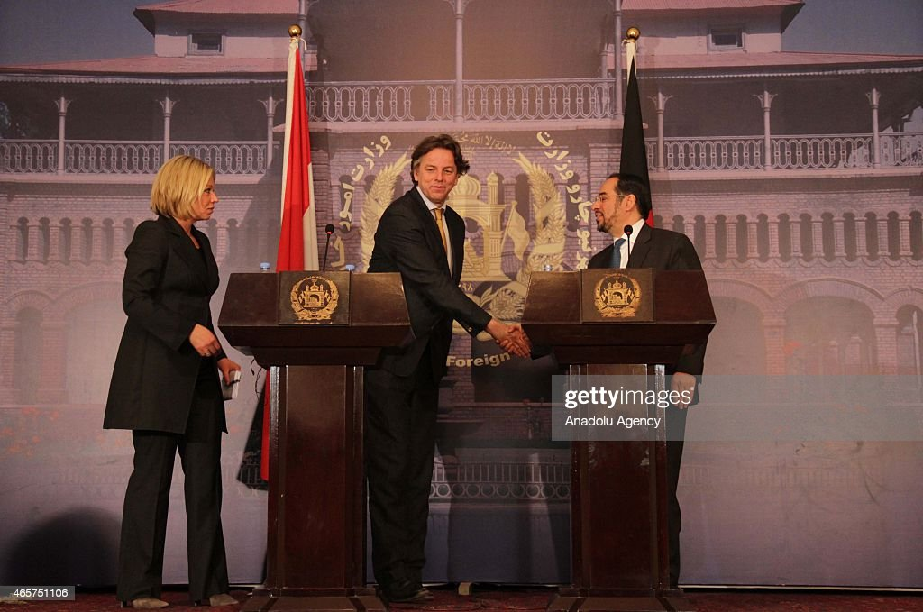 Afghan Foreign Minister Salahuddin Rabbani (R), Dutch Defence Minister <a gi-track='captionPersonalityLinkClicked' href=/galleries/search?phrase=Jeanine+Hennis-Plasschaert&family=editorial&specificpeople=4314790 ng-click='$event.stopPropagation()'>Jeanine Hennis-Plasschaert</a> (L) and Dutch Minister for Foreign Affairs Bert Koenders (C) hold a joint press conference following their meeting at the Foreign Affairs Ministry in Kabul, Afghanistan on March 10, 2015.