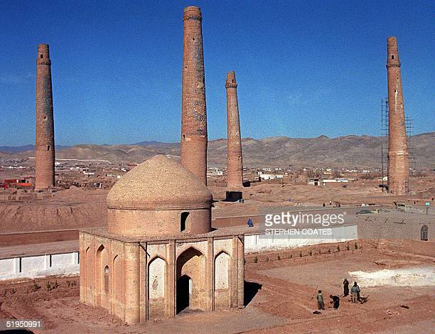Afghan labourers busy with construction work of Women's Garden a sanctuary surrounding the 15th century tomb of Queen Gawhar Shah in the western city...