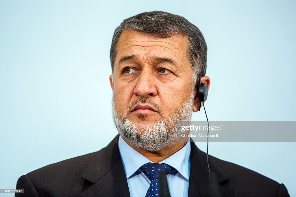 Afghan Minister of Defense <a gi-track='captionPersonalityLinkClicked' href=/galleries/search?phrase=Bismillah+Khan+Mohammadi&family=editorial&specificpeople=5958208 ng-click='$event.stopPropagation()'>Bismillah Khan Mohammadi</a> talks to the media after the meeting with German Minister of Defense Thomas de Maiziere on October, 24 in Berlin, Germany. The meeting focused on reviewing the security situation, the presidential election of 2014, the potential follow-on mission 'Resolute Support' and a possible further use of infrastructure in Mazar-e-Sharif by Afghan authorities.