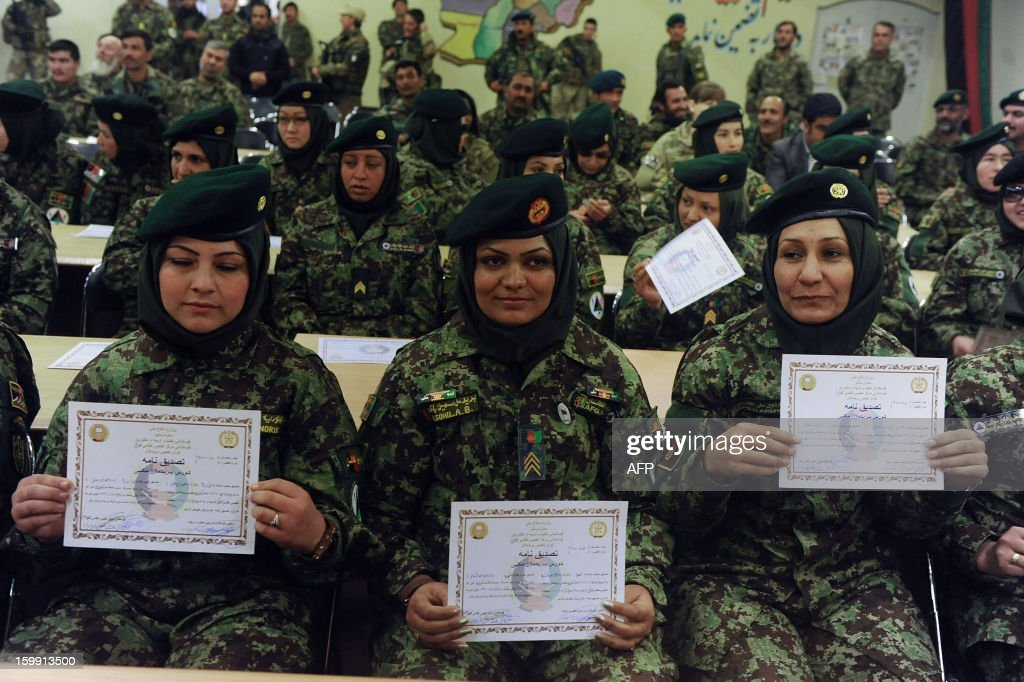 Afghan National Army (ANA) female officers hold up their graduation certificates during a ceremony at the ANA training centre in Herat on January 22, 2013. International troops in Afghanistan and all NATO-led combat forces are due to leave by the end of 2014, when Kabul will assume responsibility for the country's security. Some 300,000 Afghan Army and Police personnel have been trained so far. AFP PHOTO/ Aref Karimi