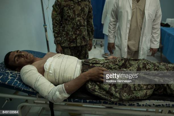 Afghan National Army soldier Shamali Mohmand lies in the ANA 215th Corp hospital on September 10 2017 at Camp Shorab in Helmand Province Afghanistan...