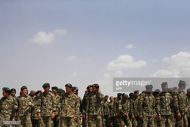 Afghan National Army soldiers line up after watching training exercises and tactical manoeuvres operated by French Army's mentors members of the...