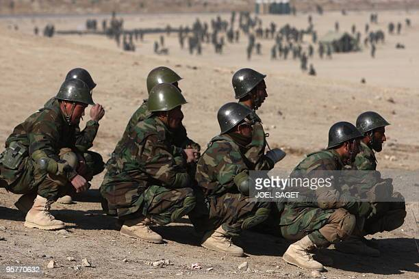 Afghan National Army trainee officers attend a briefing during training with the French army within the framework of Epidote progamme at the Kabul...