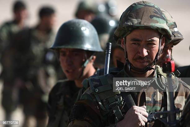 Afghan National Army trainee officers take part in training with the French army within the framework of Epidote progamme at the Kabul Military...