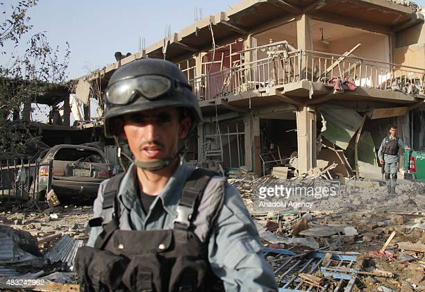 Afghan Police inspect the scene of a bomb blast in Kabul Afghanistan 07 August 2015 Powerful truck bomb killed at least eight people and wounded more...