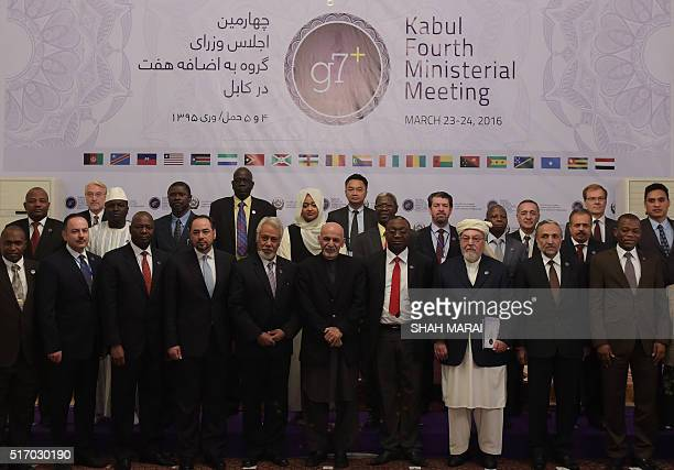 Afghan President Ashraf Ghani Afghan Foreign Minister Salahuddin Rabbani and and the Chairman of The High Peace Council of Afghanistan Pir Sayed...