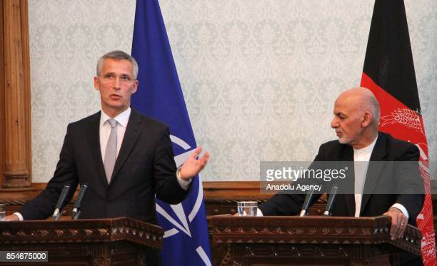 Afghan President Ashraf Ghani and NATOs Secretary General Jens Stoltenberg during a joint press conference in Kabul Afghanistan on September 27 2017