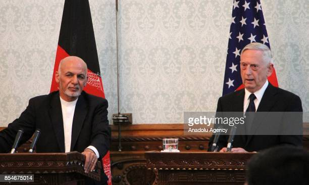 Afghan President Ashraf Ghani and US Defense Secretary James Mattis are seen during a joint press conference in Kabul Afghanistan on September 27 2017