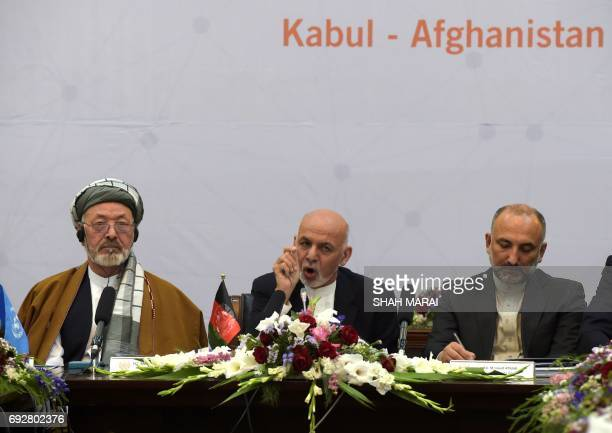 Afghan President Ashraf Ghani delivers his speech at an international peace conference at the Presidential Palace in Kabul on June 6 2017 The death...
