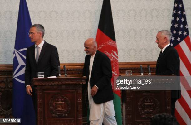 Afghan President Ashraf Ghani NATO Secretary General Jens Stoltenberg and US Defense Secretary James Mattis attend a joint press conference in Kabul...