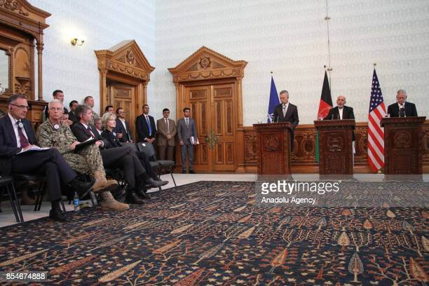 Afghan President Ashraf Ghani NATOs Secretary General Jens Stoltenberg and US Defense Secretary James Mattis attend a joint press conference in Kabul...