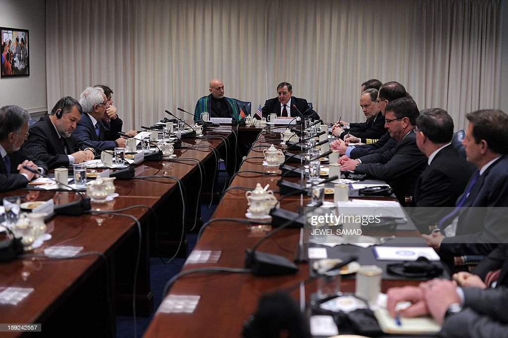 Afghan President Hamid Karzai (C-L) and US Secretary of Defense Leon Panetta hold a meeting at the Pentagon in Washington, DC, on January 10, 2013. AFP PHOTO/Jewel Samad