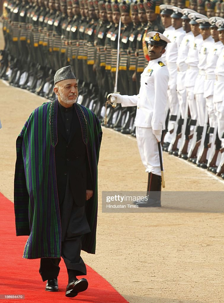 Afghan President Hamid Karzai inspects Guard of Honor during his ceremonial reception at the Rashtrapati Bhawans on November 12, 2012 in New Delhi, India.