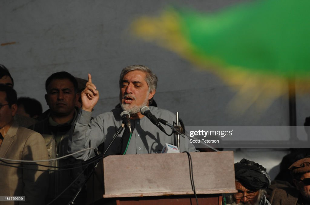 Afghan presidential candidate <a gi-track='captionPersonalityLinkClicked' href=/galleries/search?phrase=Abdullah+Abdullah&family=editorial&specificpeople=695346 ng-click='$event.stopPropagation()'>Abdullah Abdullah</a> gestures while speaking as he holds a rally for thousands of supporters in his home province on March 31, 2014, in the Panjshir Valley, Afghanistan. Dr. Abdullah is a frontrunner in the April 5 vote to succeed President Hamid Karzai, in an election that is seen as a test of stability that will ensure continued western donor aid for a nation torn by a Taliban insurgency.
