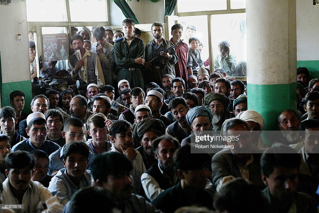 Afghan presidential candidate Latif Pedram 42 years old speaks to an ethnic Hazara crowd September 8 2004 in Kabul Afghanistan Latif Pedram an ethnic...