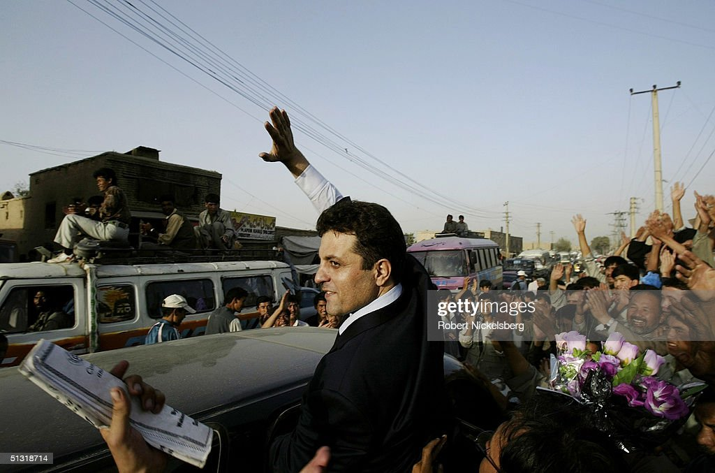 Afghan presidential candidate Latif Pedram speaks to an ethnic Hazara crowd September 8 2004 in Kabul Afghanistan Latif Pedram an ethnic Tajik is one...