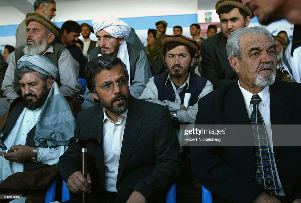 Afghan presidential candidate Yunus Qanouni 48 years old sits at a large campaign rally on October 5 in Kabul Afghanistan Yunus Qanouni is one of 18...