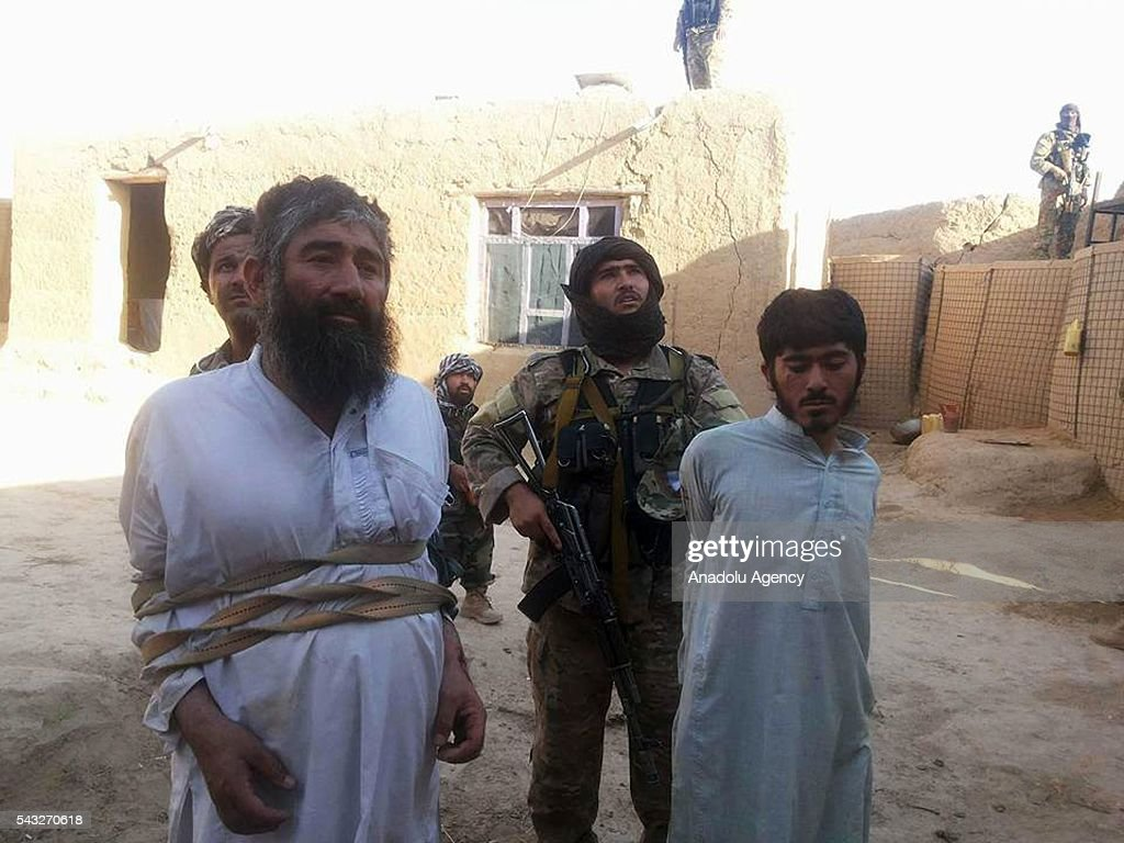 Afghan security forces arrest Taliban militants during an operation against Taliban in the Faryab province of Afghanistan on June 27, 2016. It has been said that 10 Taliban militants were killed in the operation.