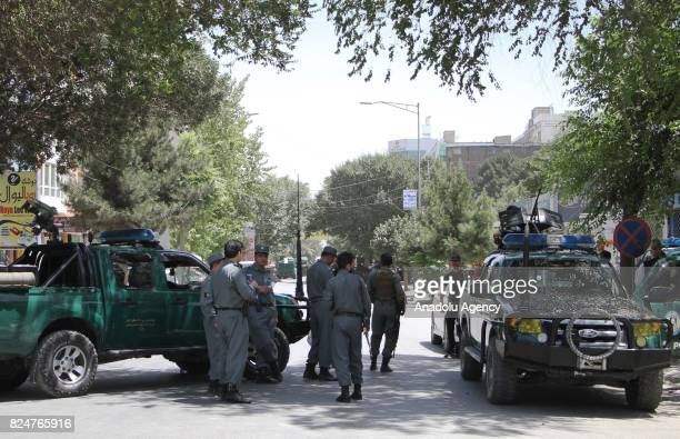 Afghan security forces take security measures after bomb laden vehicle targeted Iraqi embassy in Kabul Afghanistan on July 31 2017