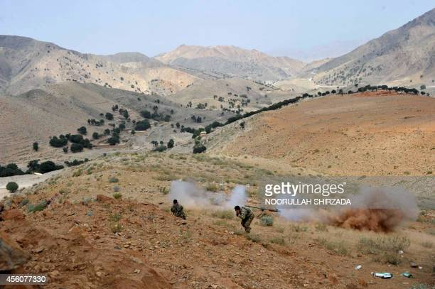 Afghan security personnel retaliate against Taliban insurgents during an antiTaliban operation in Dur Baba district near the PakistanAfghanistan...