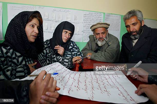 Afghan teachers have a group discussion concerning mine awareness during a UNICEF sponsored national teacher training program February 20 2003 Kabul...