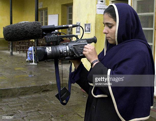 Afghan woman Mehrya one of 13 women trained by the French nongovernmental organization Aina which is helping to develop independent media in...