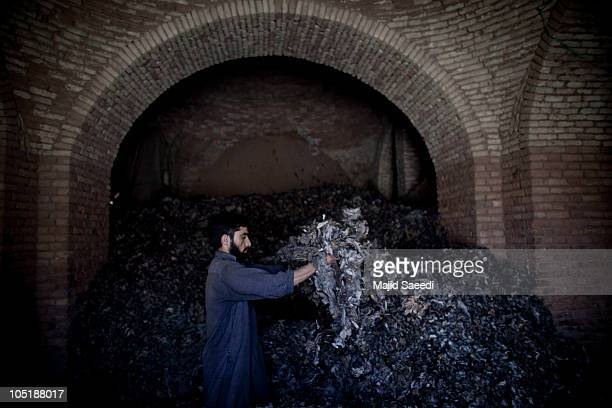 Afghan worker sorts wool in a fur and wool factory to produce coats jackets hats and other garments for the European and North American markets on...