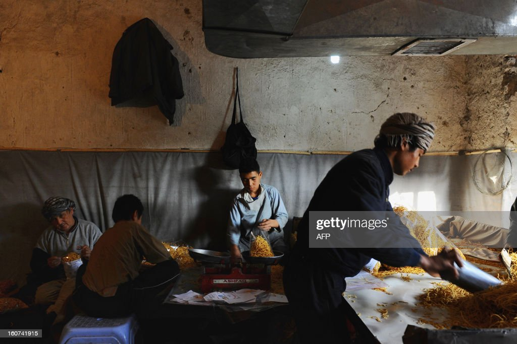 Afghan workers prepare a local snack food called seemian, made from flour and sugar, at a factory in Mazar-i-Sharif on February 2, 2013. Afghanistan's economy will easily survive the pending departure of US and other international troops next year, Afghan Finance Minister Omar Zakhilwal insisted last month.