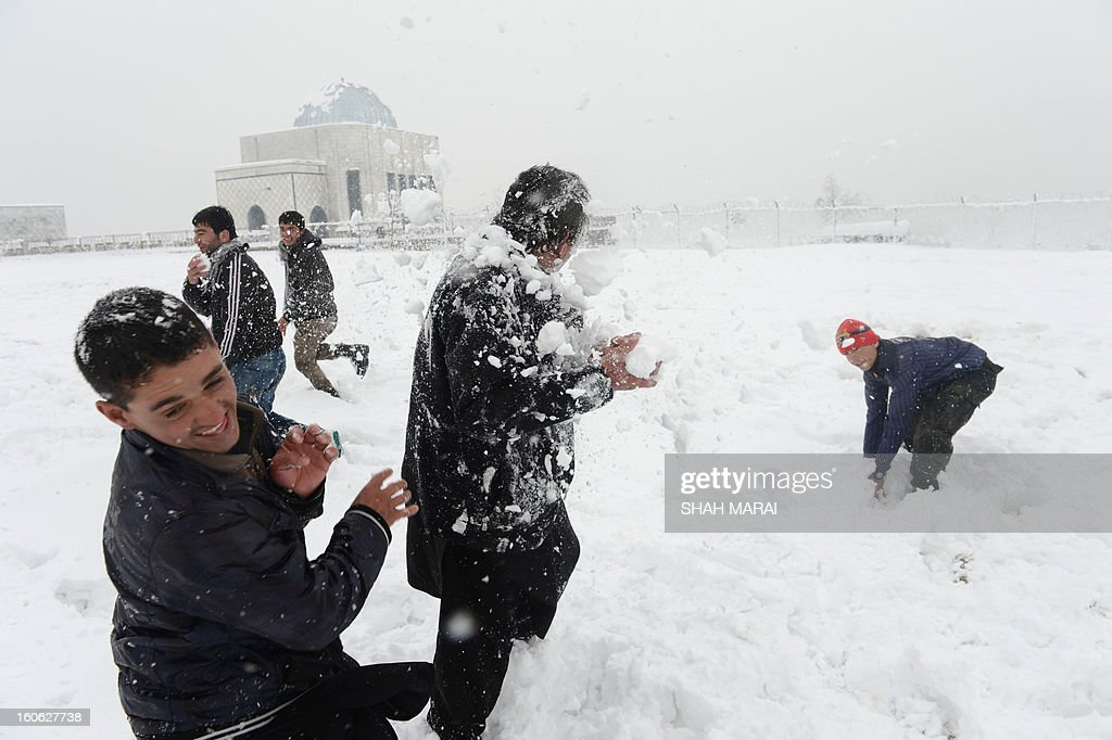 Afghan youths play in the snow in Kabul on February 4, 2013. As winter sets in across Central Asia, many Afghans struggle to provide adequate food and shelter for their families. AFP PHOTO/ SHAH Marai