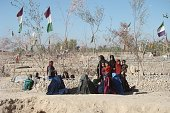 Afghani people leave their homes due to ongoing clashes between Afghan soldiers and Taliban militants in the Helmand Province Afghanistan on October...