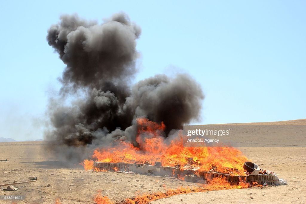 Afghani security forces annihilate near 6 tones of narcotic drugs seized by Afghan police in Balkh Afghanistan on July 21 2016