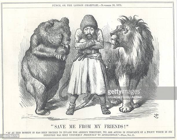Afghanistan asking to be saved from the colonial ambitions of its 'friends' Russia and Britain Cartoon by John Tenniel from 'Punch' London 30...