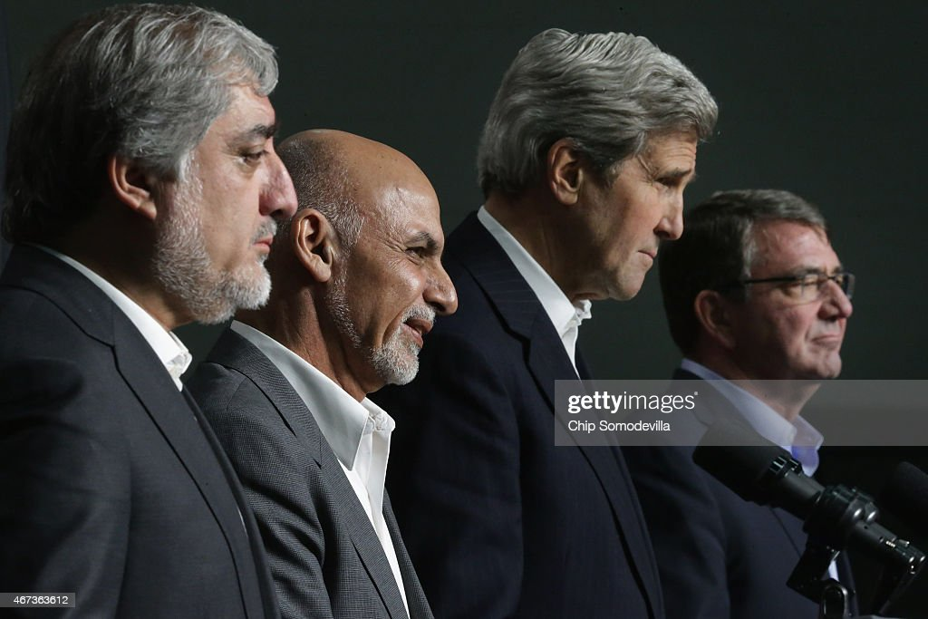 Afghanistan Chief Executive <a gi-track='captionPersonalityLinkClicked' href=/galleries/search?phrase=Abdullah+Abdullah&family=editorial&specificpeople=695346 ng-click='$event.stopPropagation()'>Abdullah Abdullah</a>, Afghanistan President <a gi-track='captionPersonalityLinkClicked' href=/galleries/search?phrase=Ashraf+Ghani&family=editorial&specificpeople=2085543 ng-click='$event.stopPropagation()'>Ashraf Ghani</a>, U.S. Secretary of State <a gi-track='captionPersonalityLinkClicked' href=/galleries/search?phrase=John+Kerry&family=editorial&specificpeople=154885 ng-click='$event.stopPropagation()'>John Kerry</a> and U.S. Secretary of Defense <a gi-track='captionPersonalityLinkClicked' href=/galleries/search?phrase=Ashton+Carter&family=editorial&specificpeople=956792 ng-click='$event.stopPropagation()'>Ashton Carter</a> hold a news conference after a day of talks at Camp David March 23, 2015 in Camp David, Maryland. The leaders talked about security, economic development and American support for the Afghan-led reconciliation process before Ghani and Abdullah meet with President Barack Obama Tuesday.