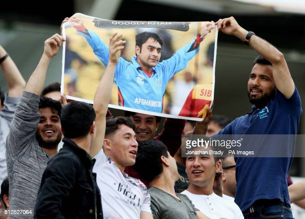 Afghanistan fans hold up a banner of Rashid Khan during the one day match at Lord's London