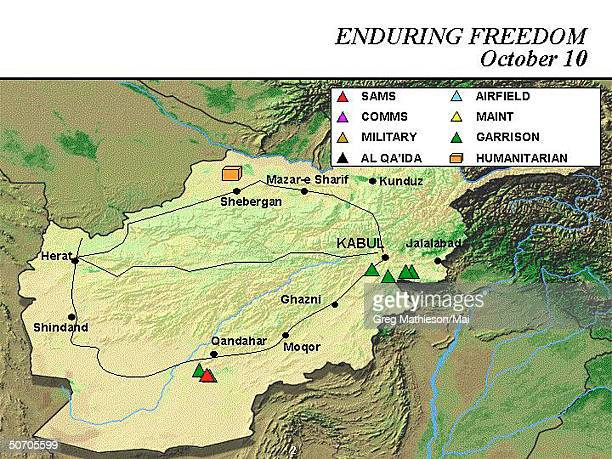 Afghanistan map showing military targets and operations as shown during Pentagon briefing