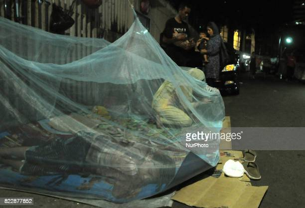 Afghanistan refugees in Jakarta Indonesia on 26 July 2017 The condition of Afghanistan refugees who stay in UNHCR office roadside sleeping without...
