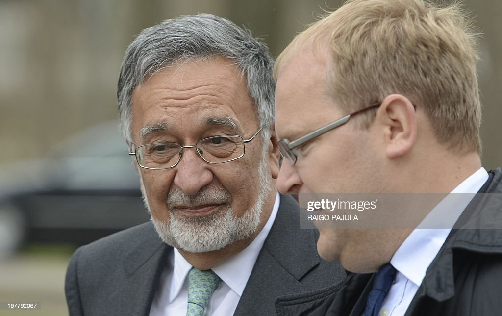 Afghanistan's Foreign Minister Zalmai Rassoul (L) talks with Estonian Foreign Minister Urmas Paet (R) as they arrive for a joint meeting in Tallinn, Estonia on April 30, 2013. Karzai arrived on Monday, April 29, 2013 for a two day official visit to the Baltic state.