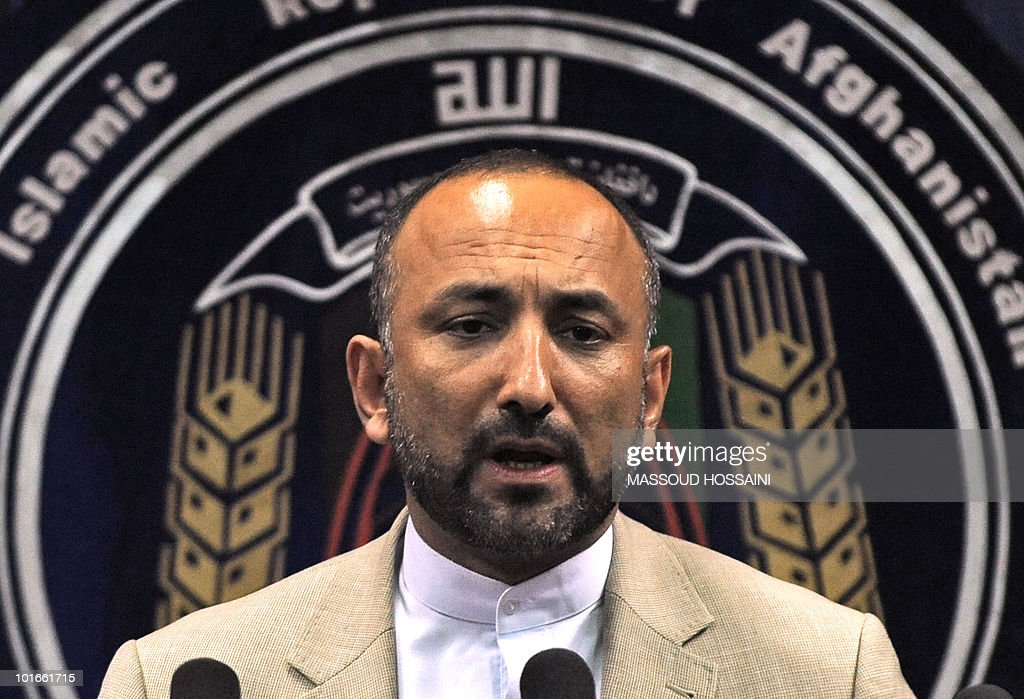 Afghanistan's interior minister Hanif Atmar speaks during a press conference at the interior ministry in Kabul on June 6, 2010. Afghanistan's interior minister and secret service chief resigned after security failings at a 'peace jirga' in Kabul that came under militant attack, President Hamid Karzai's office said. The resignations came after Karzai called in the pair to account for a rocket attack by suspected Taliban rebels on the landmark meeting in Kabul last week intended to set out a plan for ending the insurgency. AFP PHOTO/Massoud HOSSAINI