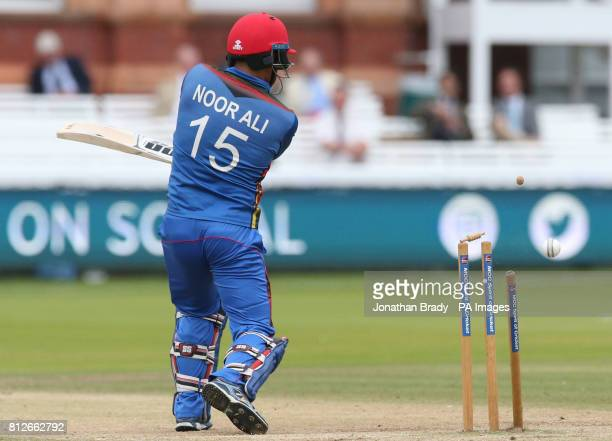 Afghanistan's Noor Ali is bowled during the one day match at Lord's London