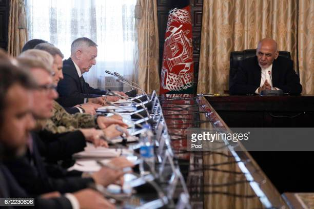Afghanistan's President Ashraf Ghani meets with US Defense Secretary James Mattis and his delegation at the Presidential Palace on April 24 2017 in...