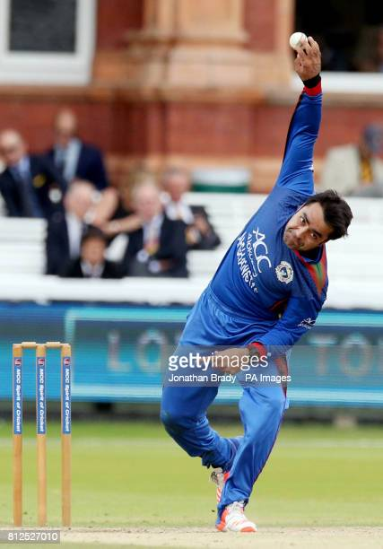 Afghanistan's Rashid Khan bowls during the one day match at Lord's London