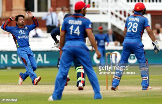 Afghanistan's Rashid Khan reacts after bowling during the one day match at Lord's London