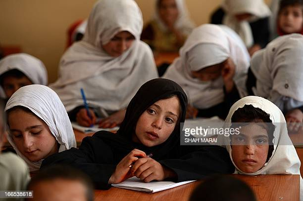 AfghanistanUSUNeducationHollywoodpeople by Sardar Ahmad In this picture taken on April 2 Afghan schoolgirls study during a lesson in QalaiGudar...