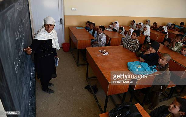 AfghanistanUSUNeducationHollywoodpeople by Sardar Ahmad In this picture taken on April 3 Sabera the school's only Afghan female teacher points to a...