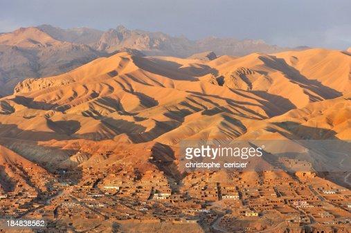 Afgnaistan village and landscape at sunset