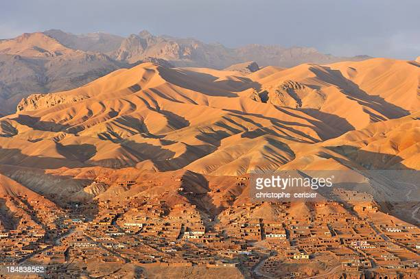 Afgnaistan village and landscape at sunset