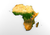 3D rendering of extruded high-resolution physical map (with relief) of the African continent, isolated on white background. Modeled and rendered with Houdini 16.5 Satellite image from NASA: https://vi
