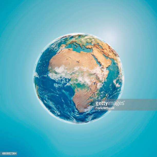 Africa 3D Render Planet Earth Clouds