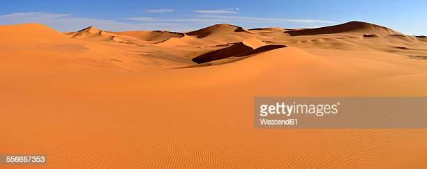 Africa, Algeria, Sahara, Tassili NAjjer National Park, Tadrart region, View of sand dunes of Tehak