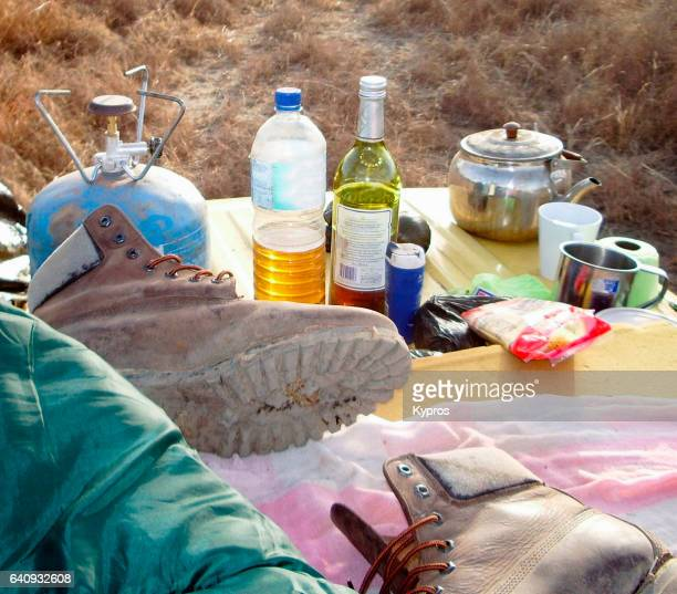 Africa, Burkina Faso, View Of Food And Nutrition, Cooking On The Vehicle Roof To Avoid Snakes And Enjoy The View, Camping Meal (Year 2007)